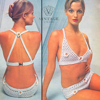 Instant download-Vintage 1960s crochet pattern lace flower bikini pdf email delivery