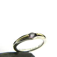 Amethyst sterling silver ring  band ,14k gold and silver ring ,stackable ring, amethyst jewelry, February birthstone amethyst ring size 6.5