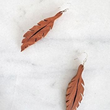 Modern Hand Carved + Wood Leaf Earrings