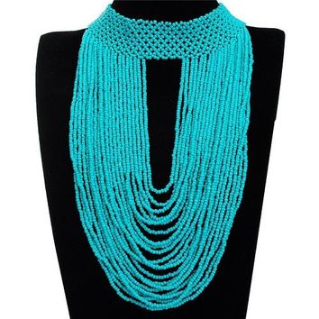 "15.50"" turquoise seed bead boho choker bib necklace 11.50"" drop"