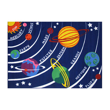 Fun Rugs Fun Time Collection Home Kids Room Decorative Floor Area Rug Solar System -8'X11'