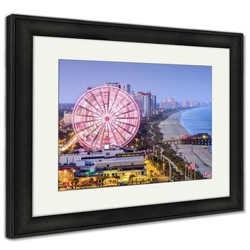Framed Print, Myrtle Beach South Carolina USA City Skyline Architecture City Landmark