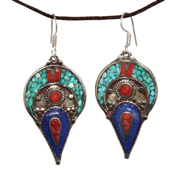 half moon turquoise coral Lapis Earring