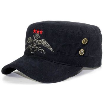 Sports Hat Cap trendy  New army cap flat top hat men women black sports adjustable caps eautiful embroidery three red stars high quality disguise bone KO_16_1