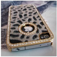 SODIAL(TM) Luxury Designer Bling Crystal Leopard Cheetah Fur Hard Case Cover for Apple IPhone 4 4S