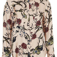 Fable Print Silk Shirt by Boutique - Nude