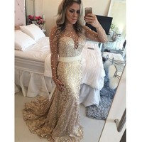 2015 Mermaid Lace Evening Dresses Beaded Sheer Long Sleeve Formal Dress Pearls Party Gowns Vestido De Festa Robe De Soiree L393