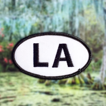 "Louisiana LA Patch - Iron or Sew On - 2"" x 3.5"" - Embroidered Oval Appliqué - The Pelican State - Black White Hat Bag Accessory Handmade USA"