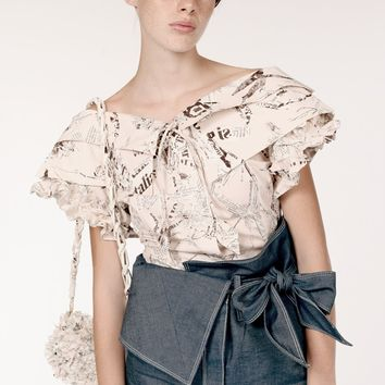 Double Collar Frilly Sleeves Cotton Shirt / Newspaper Collage Print