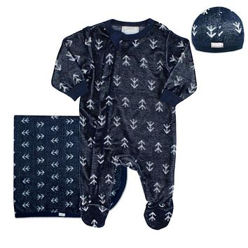 Coccoli Baby Boys' Licorice Velour 3 Piece Set