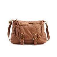 Double Buckle Pleather Satchel: Charlotte Russe