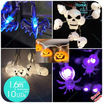DKF4S 10 leds Halloween Decoration Ghost eyes Pumpkin skull bat spider Night Light Lamps for Halloween Party Decoration Lighted Decor
