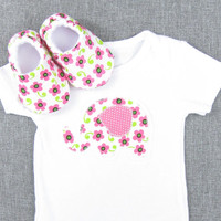 Cute Girl Baby Gifts- baby girl gift set newborn baby girl clothes baby outfit infant girl clothes set, Elephant- Hot Pink Flower