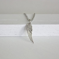 Angel Wing Necklace, Tibetan Silver, Silver Hypoallergenic Chain With Clasp