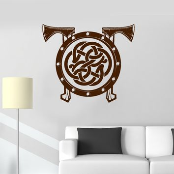 Vinyl Wall Decal Viking Shield Axes Celtic Pattern Warrior Scandinavian Art Stickers Mural Unique Gift (ig5083)