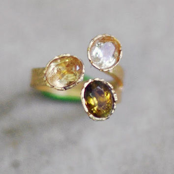 golden citrine and yellow lemon quartz brown green tourmaline triple faceted stones golden gemstone ring  by YUNILIsmiles