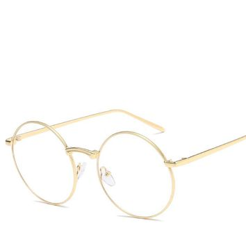 Fashion Harajuku Retro Round Glasses Frame Women Myopia Metal Eyeglasses Optical Lens Plain Mirror Men/Women Retro Metal glasses