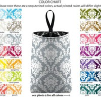 Auto Trash - Damask - PICK YOUR COLOR - Car Trash Bag Car Accessory Automobile Caddy Trash Bin