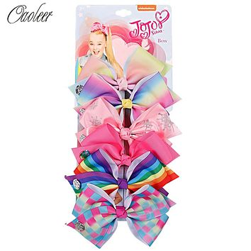 6 Pieces/Set  5.5''  Hair Bows With Hair Clips For Girls Kids Handmade Cartoon Rainbow Printed Knot Ribbon Bow Hair Accessories