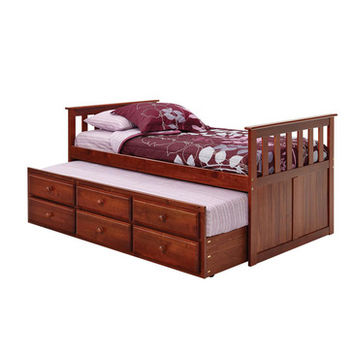 Chelsea Home Twin Mission Style Captains Bed w/ Trundle & Storage in Dark