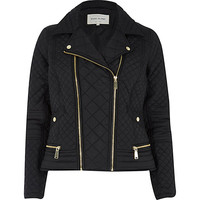 River Island Womens Black padded quilted biker jacket