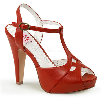 Pin Up Couture Bettie T-strap Red Heels