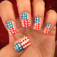 Tribal/Aztec American Flag Fake Nails Nail Art by CompulsiveNails