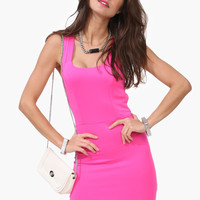 Bright Cutout Back Bodycon Dress