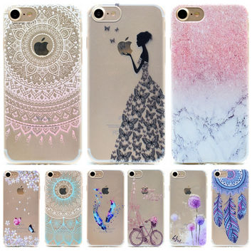Clear Butterfly Girl Phone Cases For Apple iPhone 5 5S 5 s SE 5se 6 6s + Plus 7 7G 7Plus Case Silicone Fresh Soft Back Cover
