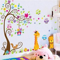 [Fundecor Monopoly] diy home decor large cartoon giraffe owl tree decals decorative wall sticker for kids room bedroom murals