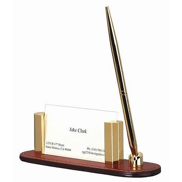 Personalized Free Engraving Leather Business Card Holder with Pen