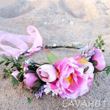 Bohemian Pink Flower Crown