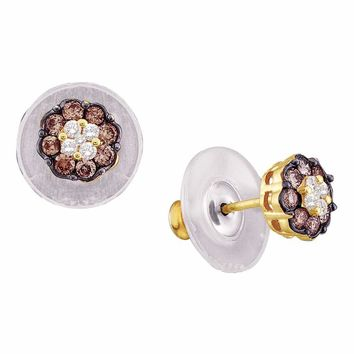 14kt Yellow Gold Womens Round Cognac-brown Color Enhanced Diamond Cluster Earrings 1.00 Cttw