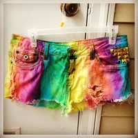 Hippie Rainbow Jean Shorts  by SheaBoutique on Etsy