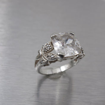 Sterling Engagement Ring, Cushion Cut Stone CZ Accents, Cocktail Ring,  Statement Designer Style Ring , Size 7, Vintage Wedding Jewelry