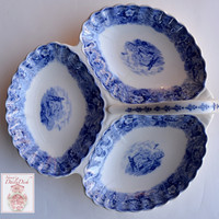 RARE Antique Spode Field Sports Blue Transferware 3 Section Hors D'oevres Handled Trefoil Relish Dish Tray English Hunt Scene