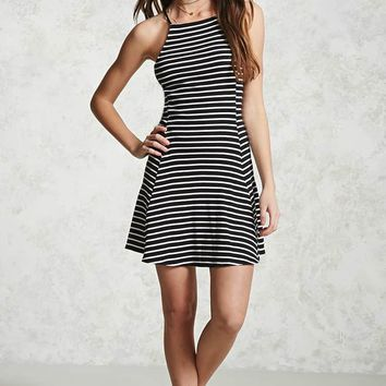 Ribbed Stripe Mini Dress