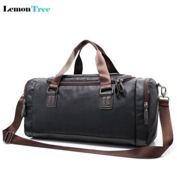 2017 High Quality Men Leather Travel Duffle Bag Sac De Voyage Cossbody Men Bag Bolsa De Couro Masculina Gym Bag Sports Bag 60zs