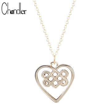 Hot Selling Celtic Knot Necklace Heart Irish Pendant long 316L Stainless Chain Brand New Fashion Gold/Silver Plated Jewelry