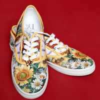 Vintage Style Grunge Sunflower Daisy Butterfly Flat Sneakers Shoes 8