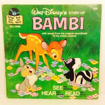 "Walt Disney's Story Of Bambi #309 (vintage 7"" storybook record)"