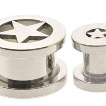 Pair Flesh Tunnel -Plug- 316l Surgical Steel Star Design Sold As a Pair 10mm(00 Gauge)