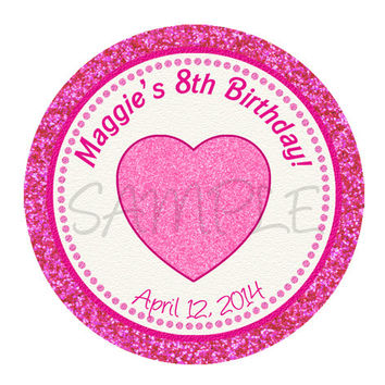 Glitter Heart Stickers, Cupcake Topper, Tags, . Heart Birthday party. Heart Baby shower. Digital file