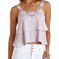 Lavender Fog Crochet-Topped Layered Tank Top by Charlotte Russe