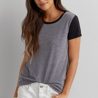 AEO Soft & Sexy Striped Baby T-Shirt , Navy | American Eagle Outfitters