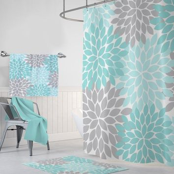 Aqua Gray Flower SHOWER CURTAIN, Flower Bathroom Decor, Girl MONOGRAM Personalized, Floral Bathroom Decor, Bath Towel, Plush Bath Mat Rug