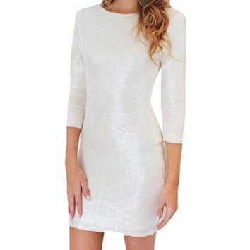 Women's Sexy White Sequin 3/4 Sleeves Backless Zipper Bodycon Cocktail Pencil Party Dress