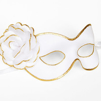 White And Gold Masquerade Mask -  Fabric Covered Venetian  Mask With Rose Decoration - Gold Foil Framed Masquerade Ball Mask