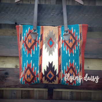 Southwest Boho Dream Catcher Mayan Oversized Wool Tote Bag