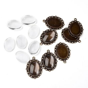 DIY Pendant Making Jewelry Findings Tibetan Style Pendant Cabochon Settings and Oval Clear Glass Cabochons 10 Sets/lot